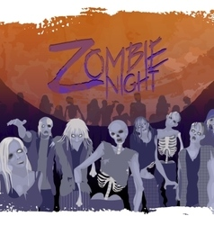 Zombie crowd walking forward vector