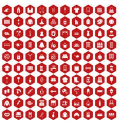 100 needlework icons hexagon red vector
