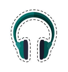 cartoon headphones music sound device vector image