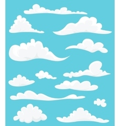 Cartoon set of cute clouds on blue background vector image