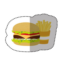 hamburger and fries french icon vector image vector image