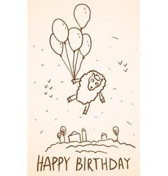 Happy birthday card Funny sheep with balloons vector image