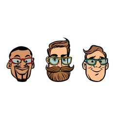 head stylish guys hipsters multi-ethnic group vector image vector image