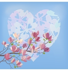 Magnolia Flowers and Valentines Heart vector image vector image