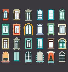 stone or plastic windows exterior view vector image