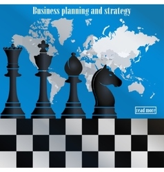 Business strategy Chess on the world map vector image vector image
