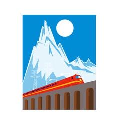 diesel train locomotive retro viaduct bridge vector image vector image