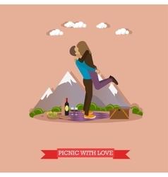 Happy couple having picnic in a park vector
