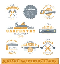Set of vintage carpentry logos vector image
