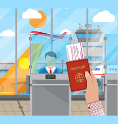 border control concept immigration officer vector image