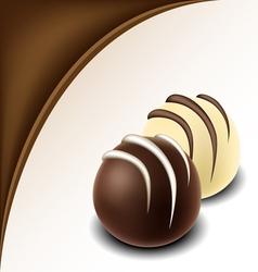 Chocolate text frame with chocolate bonbon vector