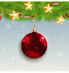 Christmas background with shining red decoration vector image