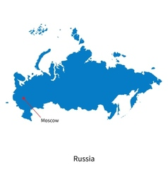 Detailed map of Russia and capital city Moscow vector image vector image