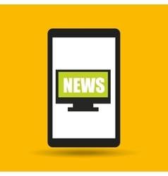 hand hold cellphone online news design vector image