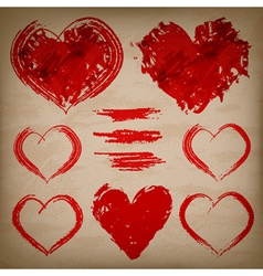 set of hand drawn hearts on paper background vector image vector image