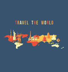 travel the world paper cut landmark map design vector image vector image