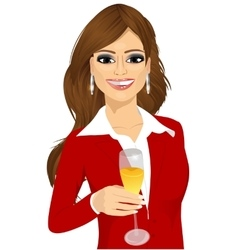 young attractive businesswoman toasting vector image vector image