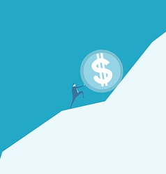Business man pushing a huge coin up hill vector image