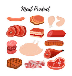 cartoon flat meat products butcher shop vector image vector image