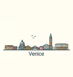 flat line venice banner vector image vector image