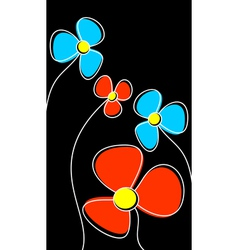 Flowers on a black background vector image