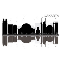 jakarta city skyline black and white silhouette vector image vector image