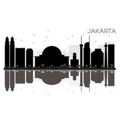 jakarta city skyline black and white silhouette vector image