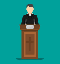priest giving speech from tribune vector image