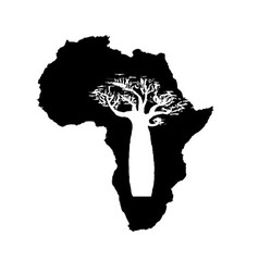 Silhouette of black africa with white baobab vector