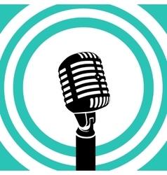 Vintage microphone Black silhouette vector image vector image