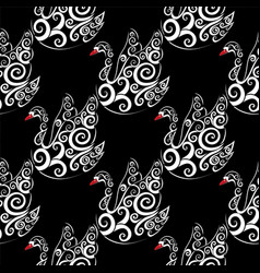 white swan with black bacground vector image