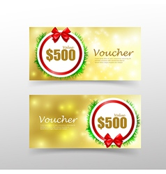 009 Christmas gift voucher card template with red vector image