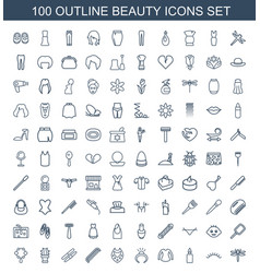 100 beauty icons vector
