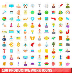 100 productive work icons set cartoon style vector image