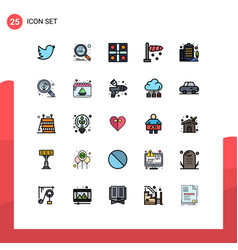 25 user interface filled line flat color pack of vector
