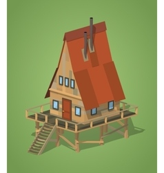 A-Frame wooden house vector image