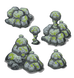 a set of grey boulders covered with silt isolated vector image