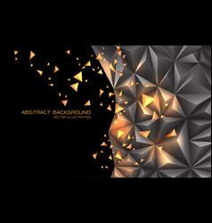 Abstract grey gold triangle 3d with black blank vector