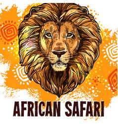 African lion poster safari hunting poster vector