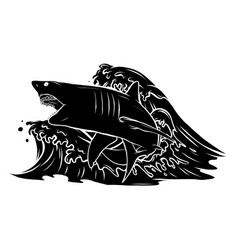 angry shark fish jumping out water ocean symbol vector image
