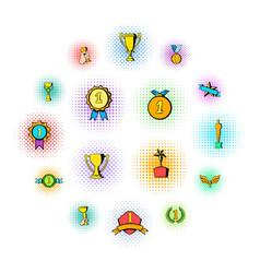 award icons set comics style vector image