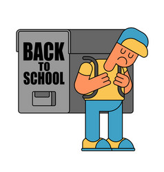 back to school sad boy and backpacks for vector image