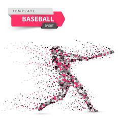 Baseball player - color dot on the vector