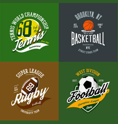 Basketball and soccer rugby and tennis icons vector