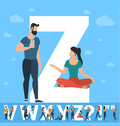 big z letter white letter with young people vector image