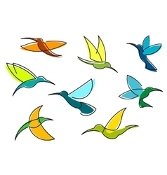Blue orange and green hummingbirds icons vector