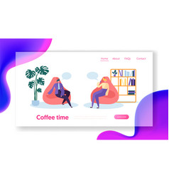 business people characters relaxing on coffee time vector image