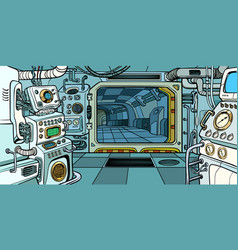 cabin of the spacecraft vector image