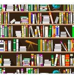 Cartoon bookshelves in the library vector