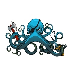 Cartoon octopus pirate with axe and sword vector image